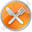 Restaurant Fork Knife Crossed Circle Orange Icon, PNG/ICO, 64x64
