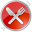 Restaurant Fork Knife Crossed Circle Red Icon