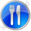 Restaurant Fork Knife Parallel Circle Blue Icon