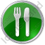 Restaurant Fork Knife Parallel Circle Green Icon