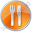 Restaurant Fork Knife Parallel Circle Orange Icon, PNG/ICO, 64x64