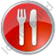 Restaurant Fork Knife Parallel Circle Red Icon