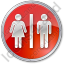 Restroom Women Man Circle Red Icon