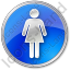 Restroom Women Circle Blue Icon