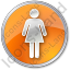 Restroom Women Circle Orange Icon