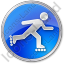Roller Skating Circle Blue Icon