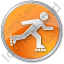 Roller Skating Circle Orange Icon