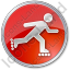 Roller Skating Circle Red Icon