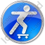 Skateboarding Circle Blue Icon, PNG/ICO, 64x64