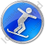 Snowboarding Circle Blue Icon, PNG/ICO, 64x64