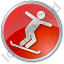Snowboarding Circle Red Icon