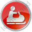 Snowmobiling Circle Red Icon, PNG/ICO, 64x64