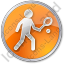 Tennis Player Circle Orange Icon, PNG/ICO, 64x64