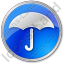 Umbrella Circle Blue Icon, PNG/ICO, 64x64