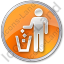 Waste Container Circle Orange Icon, PNG/ICO, 64x64