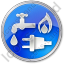 Water Gas Electricity Circle Blue Icon, PNG/ICO, 64x64