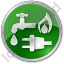 Water Gas Electricity Circle Green Icon