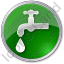 Water Tap Circle Green Icon