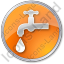 Water Tap Circle Orange Icon