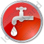 Water Tap Circle Red Icon