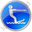 Waterskiing Circle Blue Icon