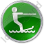 Waterskiing Circle Green Icon