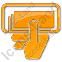 ATM Money In Hand Plain Orange Icon, PNG/ICO, 128x128