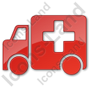 Ambulance Plain Red Icon, PNG/ICO, 128x128