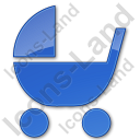 Baby Carriage Plain Blue Icon