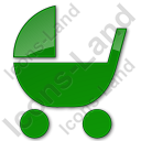 Baby Carriage Plain Green Icon