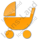 Baby Carriage Plain Orange Icon, PNG/ICO, 128x128
