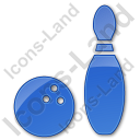 Bowling Plain Blue Icon, PNG/ICO, 128x128