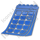 Calendar Plain Blue Icon, PNG/ICO, 128x128