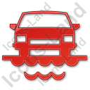 Car Ferry Plain Red Icon
