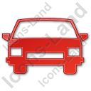 Car Plain Red Icon, PNG/ICO, 128x128