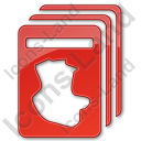 Cards Plain Red Icon, PNG/ICO, 128x128