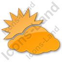 Cloudy Partly Plain Orange Icon, PNG/ICO, 128x128