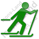 Cross Country Skiing Plain Green Icon, PNG/ICO, 128x128
