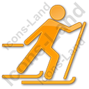 Cross Country Skiing Plain Orange Icon