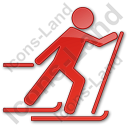 Cross Country Skiing Plain Red Icon