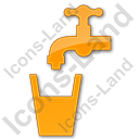 Drinking Water Tap Plain Orange Icon, PNG/ICO, 128x128