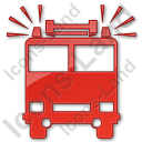 Fire Station Plain Red Icon, PNG/ICO, 128x128