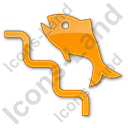 Fish Ladder Plain Orange Icon, PNG/ICO, 128x128