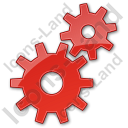 Gears Plain Red Icon, PNG/ICO, 128x128