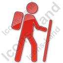 Hiking Plain Red Icon