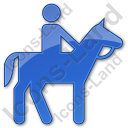 Horse Riding Plain Blue Icon