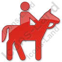 Horse Riding Plain Red Icon