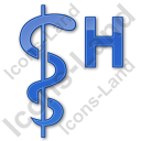 Hospital Rod Of Asclepius Plain Blue Icon, PNG/ICO, 128x128