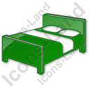 Hotel Bed 3D Plain Green Icon, PNG/ICO, 128x128