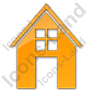 House Plain Orange Icon, PNG/ICO, 128x128